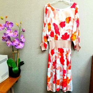 Maeve Gemma floral leaf print midi dress